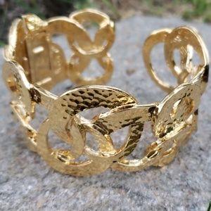 Vintage KJL Kenneth J Lane Hammered Cuff Bracelet